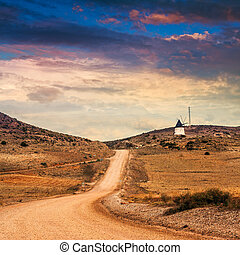 西班牙语, 风景。, 荒废, 乡村的区域, 在中, 山, 在中, andalusia., 龙舌兰, plants.,...