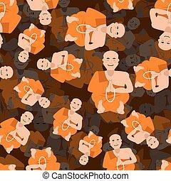西藏, 西藏人, 佛教徒, 橙, 僧侶, seamless, 新手, texture., shaolin, 瑜伽, 背景。, pattern., 修道院, 3d, 衣服