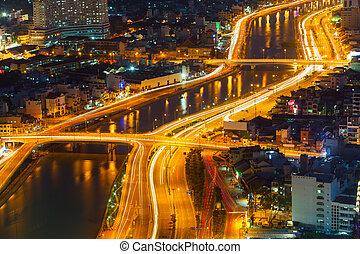 西貢, 夜晚, 全景, 城市
