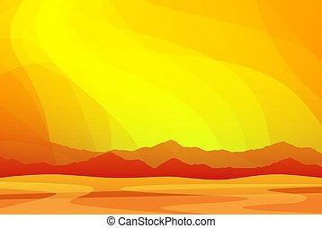 西部の砂漠, 暑い, パノラマ, 山, 風景, sunset., 壁紙, アリゾナ