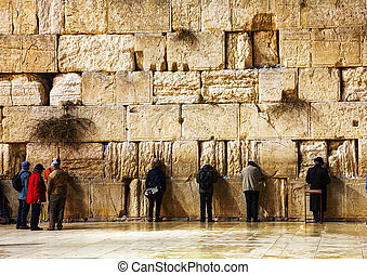 ∥, 西部の 壁, 中に, エルサレム, イスラエル, 中に, ∥, 夜