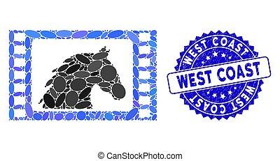西部, 西, 映画, コラージュ, 傷付けられる, 切手アイコン, 海岸