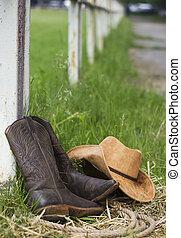 西部, 靴, そして, カウボーイ帽子, 上に, 牧場