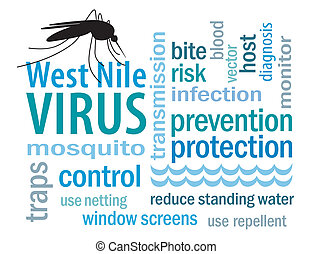 西, ナイル, ウイルス, 単語, 雲