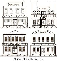西, 建物, 2, 古い, 概説された