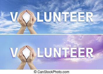 要求, ボランティア, 2, 旗, x