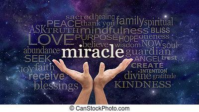 要求, a, 奇跡, 単語, 雲
