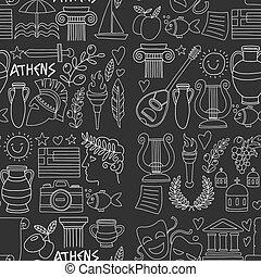 要素, いたずら書き, 旅行, 海, アイコン, seamless, ギリシャ, パターン, 彫刻