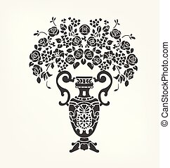 要素, つぼ, victorian, ベクトル, デザイン, 花, バロック式