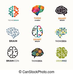 要素, アイコン, 作成, 考え, コレクション, 脳