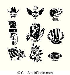 要素, アメリカ, セット, イラスト, 手, シンボル, アメリカ人, ベクトル, デザイン, レトロ, 背景, 引かれる, 白, 日, 独立
