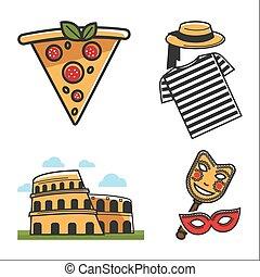 要素, カラフルである, ポスター, 伝統的である, ベクトル, 白, イタリア語