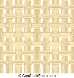要素, ギリシャ語, architecture., pattern., seamless, コラム, ベクトル, 背景,...