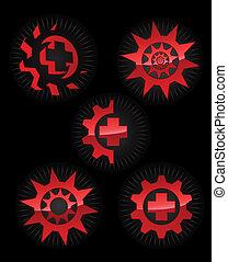 要素, グロッシー, ロゴ, セット, ベクトル