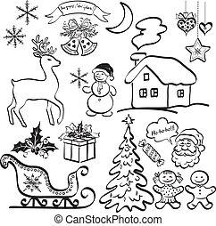 要素, シルエット, 黒, クリスマス