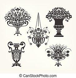 要素, セット, つぼ, victorian, ベクトル, デザイン, 花, バロック式