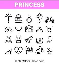 要素, セット, アイコン, コレクション, ベクトル, 王女