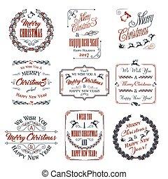要素, セット, クリスマス