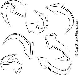 要素, セット, 抽象的, 矢, sketchy, ベクトル, デザイン, 3d
