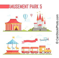 要素, セット, -, 現代, 公園, イラスト, ベクトル, 娯楽