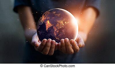 要素, セービング, 保有物, 供給される, 概念, エネルギー, day., これ, nasa, 人間, 夜, 地球, あった, イメージ, hands.