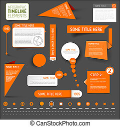要素, タイムライン, 暗い, infographic, 背景, オレンジ