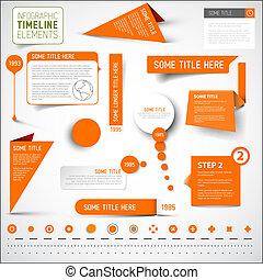 要素, タイムライン, /, infographic, テンプレート, オレンジ