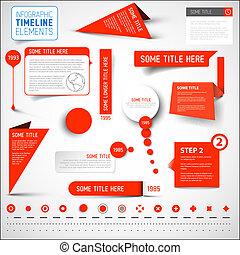 要素, タイムライン, /, infographic, テンプレート, 赤