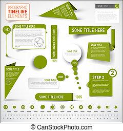 要素, タイムライン, /, infographic, 緑, テンプレート