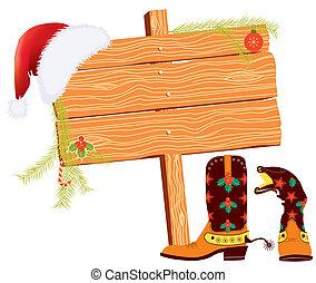 要素, テキスト, 背景, クリスマス, カウボーイ, 白