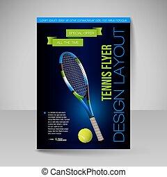 要素, テニス, symbols., ベクトル, フライヤ, スポーツ, template., design.
