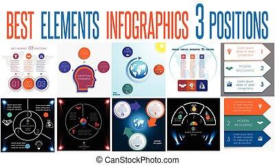 要素, テンプレート, 3, 普遍的, セット, infographics, ポジション, 10