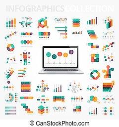 要素, デザイン, コレクション, infographics