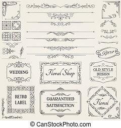 要素, デザイン, レトロ, calligraphic