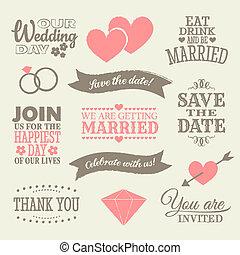 要素, デザイン, 結婚式
