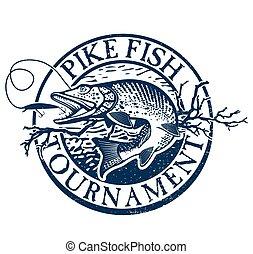 要素, デザイン, 釣り, 型, ラベル, 紋章, マス