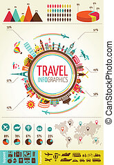 要素, データ, 旅行 アイコン, infographics, 観光事業