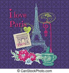 要素, パリ, 型, -, スタンプ, ベクトル, デザイン, スクラップブック, カード