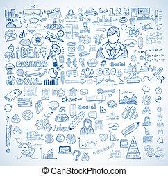 要素, ビジネス, セット, infographics, スケッチ, doodles, :, 隔離された