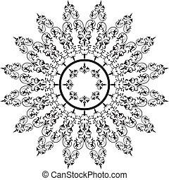 要素, フレーム, 抽象的, ベクトル, 花の意匠