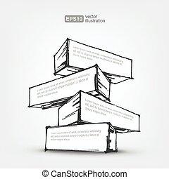 要素, ベクトル, デザイン, 背景, 引かれる, 白, 手