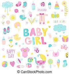 要素, -, ベクトル, デザイン, 赤ん坊, スクラップブック, 女の子