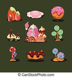 要素, マジック, 家, クッキー, 甘いもの, ゲーム, カラメル, 木。, 島
