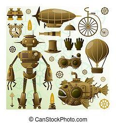 要素, レトロ, 特徴, robot., set., stempunk, elements., icons., ...