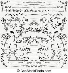 要素, 仕切り, 手, デザイン, リボン, 花, 引かれる