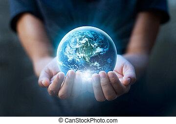 要素, 保有物, 供給される, これ, イメージ, blue., 日, nasa, 人間の術中, 地球