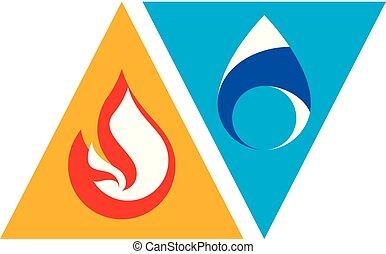 要素, 反対, 火, yin, emblem., 水, yang, 概念, 自然