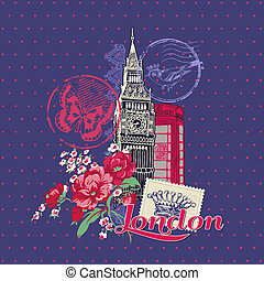 要素, 型, -, スタンプ, ベクトル, ロンドン, スクラップブック, デザイン, カード