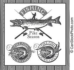 要素, 型, ラベル, デザイン, 釣り, 紋章, マス