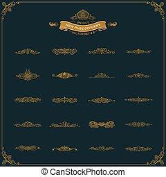 要素, 型, 仕切り, calligraphic, セット, 装飾, 新しい, ページ